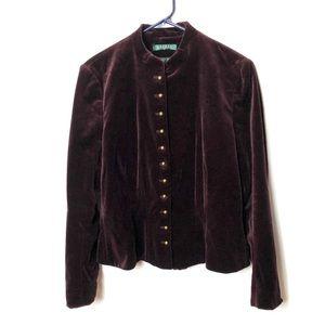 LRL Ralph Lauren velvet jacket antique gold button